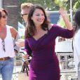 """Fran Drescher arrive sur le plateau de l'émission """"Extra"""" à Universal City. Le 11 août 2015"""