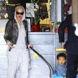 Exclusif - Amber Rose se promène avec son fils Sébastian le jour de son deuxième anniversaire à Los Angeles le 22 février 2015