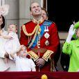 """Kate Middleton, duchesse de Cambridge, la princesse Charlotte, le prince George, le prince William, la reine Elisabeth II d'Angleterre - La famille royale d'Angleterre au balcon du palais de Buckingham lors de la parade """"Trooping The Colour"""" à l'occasion du 90ème anniversaire de la reine. Le 11 juin 2016"""