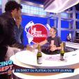 """Arthur débarque en direct sur le plateau du """"Petit Journal"""" de Yann Barthès. Emission """"Cinq à Sept avec Arthur"""", sur TF1. Le 23 juin 2016."""