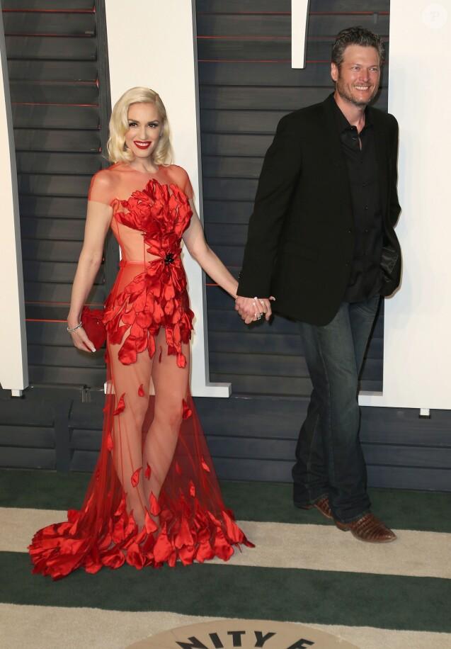 """Gwen Stefani et son compagnon Blake Shelton - People à la soirée """"Vanity Fair Oscar Party"""" après la 88ème cérémonie des Oscars à Hollywood, le 28 février 2016."""