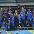 Sylvie Tellier, Flora Coquerel, Matt Pokora, Iris Mittenaere lors du match du quart de finale de l'UEFA Euro 2016 France-Islande au Stade de France à Saint-Denis, France le 3 juillet 2016. © Cyril Moreau/Bestimage