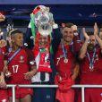 Joie de l'équipe portugaise et de Cristiano Ronaldo vainqueur de l'EURO 2016, le 10 juillet 2015.