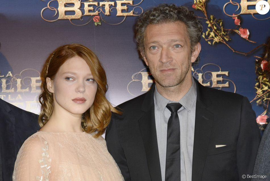"""Léa Seydoux et Vincent Cassel - Première du film """"La Belle et La Bête"""" à Paris le 9 février 2014."""
