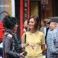 """Bérénice Bejo - Tournage du film de Michel Hazanavicius """"Le Redoutable"""" à Paris le 27 juillet 2016."""