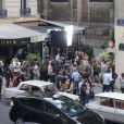 """Tournage du film de Michel Hazanavicius """"Le Redoutable"""" à Paris le 27 juillet 2016."""