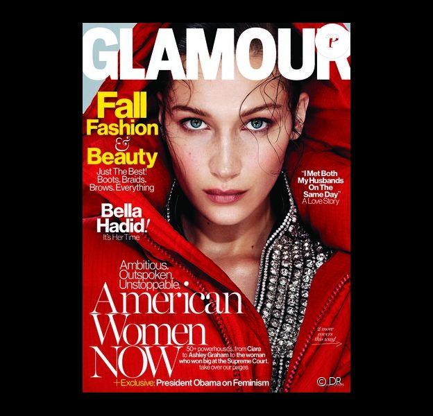 Bella Hadid en couverture du magazine Glamour. Numéro de septembre 2016.