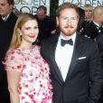 Drew Barrymore enceinte et son mari Will Kopelman - 71eme ceremonie des Golden Globe Awards a Beverly Hills, le 12 janvier 2014.
