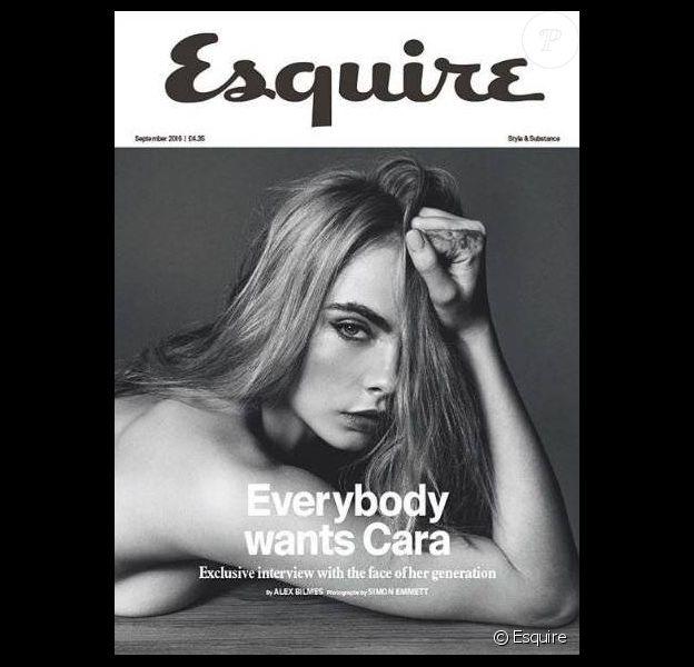 Cara Delevingne en couverture d'Esquire, numéro de septembre 2015.