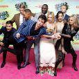 Jay Hernandez, Joel Kinnaman, Will Smith, Ezra Miller, Margot Robbie, Adewale Akinnuoye-Agbaje, Karen Fukuhara, Jai Courtney et Cara Delevingnelors de la première de Suicide Squad à l'Odeon Leicester Square, Londres, le 3 août 2016.