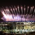 Cérémonie d'ouverture des Jeux Olympiques (JO) de Rio 2016 à Rio de Janeiro, Brésil le 5 aout 2016.   Fireworks go off over the Maracana Stadium during the opening ceremony of the Rio 2016 Summer Olympic Games. Valery Sharifulin/TASS05/08/2016 - Rio de Janeiro