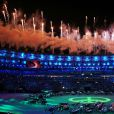 Cérémonie d'ouverture des Jeux Olympiques (JO) de Rio 2016 à Rio de Janeiro, Brésil le 5 aout 2016.   Fireworks go off over the Maracana Stadium during the opening ceremony of the Rio 2016 Summer Olympic Games.05/08/2016 - Rio de Janeiro