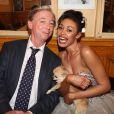"""Exclusif - Philippe Chevallier et sa femme Tiffany avec leur chien Pipoune lors du dîner de mariage au restaurant Joséphine """"Chez Dumonet"""" à Paris, le 26 juillet 2016"""
