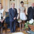 Exclusif - Philippe Chevallier et Tiffany avec leurs témoins, Anne de Castro et David Gauthier à la Mairie du XVIème arrondissement à Paris, le 26 juillet 2016