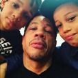 JoeyStarr et ses deux ainés Khalil et Mathis, en janvier 2016