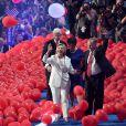 Bill Clinton, Tim Kaine (qui serait son vice-président en cas de victoire) et sa femme Anne - Hillary est investie candidate du parti lors de la cérémonie de clôture de la Convention Nationale Démocrate à Philadelphie, le 28 juillet 2016.