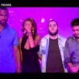 """Pierre, Mélanie, Damien et Thomas - """"Secret Story 10"""" sur NT1. """"Hebdo"""" du 15 septembre 2016."""