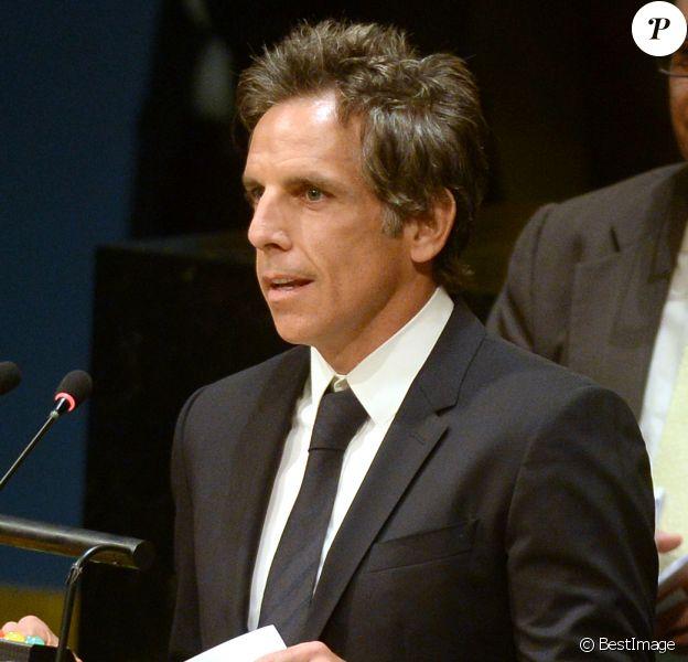 Ben Stiller à l'ONU pour remettre une pétition en faveur des réfugiés le 16 septembre 2016.