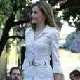 """La reine Letizia d'Espagne lors du séminaire """"Une nouvelle coopération ibéro-américaine"""" à la Maison de l'Amérique à Madrid le 10 octobre 2016"""