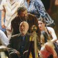"""Exclusif - Hugh Jackman et Patrick Stewart sur le tournage de """"Wolverine 3"""" à la Nouvelle-Orléans, le 9 juin 2016. © CPA/Bestimage"""
