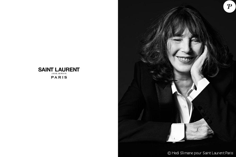 Jane Birkin, nouvelle égérie pour la maison Saint Laurent Paris, printemps 2016.