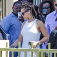 Rihanna assiste au baptême de son neveu Nicoli Carter dans une église à la Barbade le 9 octobre 2016.