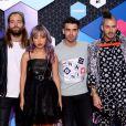 DNCE's Joe Jonas, Jack Lawless, JinJoo Lee et Cole Whittle aux MTV Europe Music Awards 2016 au Rotterdam Ahoy Arena, à Rotterdam, aux Pays-Bas le 6 novembre 2016