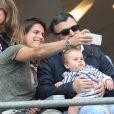 Amélie Mauresmo et son fils Aaron Mauresmo lors de France - Islande (Euro 2016) au Stade de France à Saint-Denis, le 3 juillet 2016. © Cyril Moreau/Bestimage