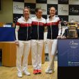 French Fed Cup team with captain Amélie Mauresmo, Pauline Parmentier, Kristina Mladenovic, Caroline Garcia and Alize Cornet at the draw ceremony at the final round tie against Czech Republic at the Rhenus Arena, Strasbourg, France on november, 11, 2016. Photo by Corinne Dubreuil/ABACAPRESS.COM11/11/2016 - strasbourg