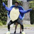 Exclusif - Adam Levine déguisé en tortue sur le tournage d'un clip vidéo à Beverly Hills, Los Angeles, Californie, Etats-Unis, le 28 août 2016.