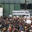 Rassemblement devant les locaux de iTélé à Boulogne Billancourt au neuvième jour de grève de la société des journalistes le 25 octobre 2016. 25/10/2016 - Boulogne Billancourt