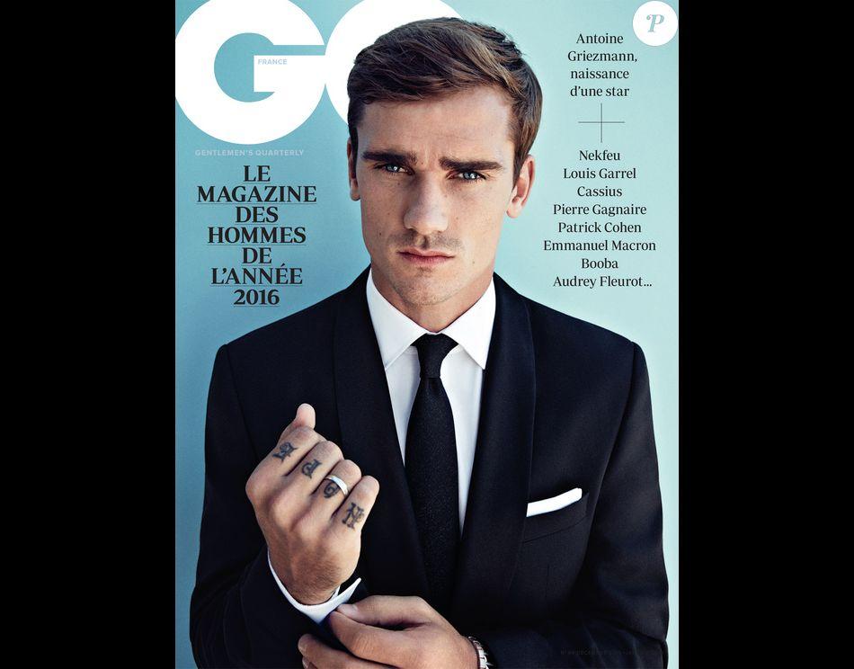 """Antoine Griezmann en couverture de l'édition spéciale des """"Hommes de l'année GQ"""". Novembre 2016."""