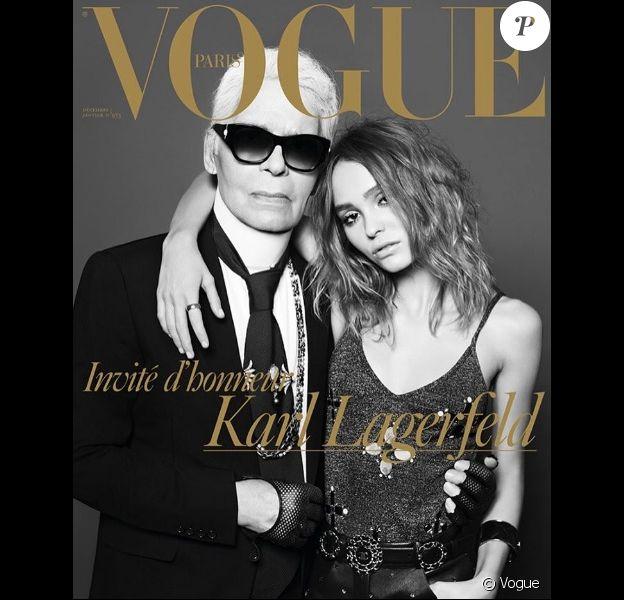 Lily-Rose Depp et Karl Lagerfeld posent pour Vogue Paris et Hedi Slimane.