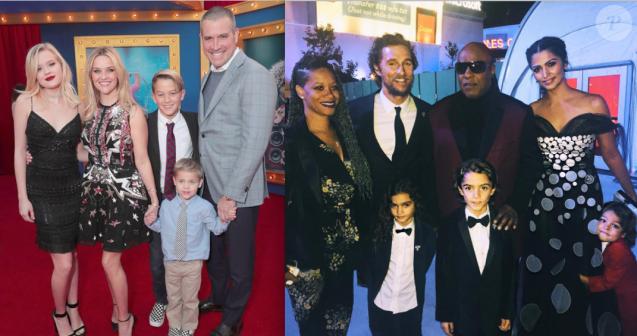 """Reese Witherspoon et Matthew McConaughey et leurs familles - Avant-première du film """"Sing"""" à Los Angeles le 3 décembre 2016 (photomontage)"""