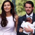 Le prince Félix du Luxembourg, son épouse la princesse Claire et leur fille la princesse Amalia lors de la célébration du baptême de la princesse Amalia de Luxembourg en la chapelle de Saint Ferréol à Lorgues, le 12 juillet 2014.