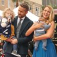Ryan Reynolds avec sa femme Blake Lively et leurs deux filles. L'acteur a reçu son étoile sur le Walk of Fame à Hollywood, le 15 décembre 2016