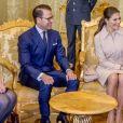 La princesse Victoria et le prince Daniel de Suède rencontrent la présiddente de la Chambre des Députés, Laura Boldrini, à Rome, le 15 décembre 2016.15/12/2016 - Rome