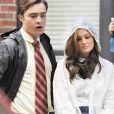 Leighton Meester et Ed Westwick sur le tournage de Gossip Girl à New York, le 12 septembre 2008