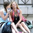 Leighton Meester et Blake Lively sur le tournage de Gossip Girl à New York, le 13 juillet 2009