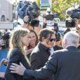 Johnny Depp et sa femme Amber Heard arrivent au tribunal de Southport pour le procès dans lequel est impliquée Amber pour avoir fait entrer sur le territoire ses chiens Pistol et Boo sans les déclarer à Southport le 18 Avril 2016.