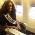 Alicia Aylies (Miss France 2017) en route pour la Guyane, le 9 janvier 2017.