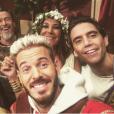"""M. Pokora, Zazie, Mika et Florent Pagny sur le tournage de la bande-annonce de """"The Voice 6"""", le 29 novembre 2016."""