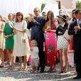 Louis Ducruet, la princesse Stéphanie de Monaco, Camille Gottlieb, Pauline Ducruet, la princesse Caroline de Hanovre, Sacha Casiraghi, Andrea Casiraghi, Tatiana Santo Domingo Casiraghi, Elisabeth-Anne de Massy, Mélanie-Antoinette de Massy - Premier jour des célébrations des 10 ans de règne du prince Albert II de Monaco à Monaco, le 11 juillet 2015.