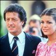 Philippe Junot et la princesse Caroline de Monaco le jour de leurs fiançailles en 1977.