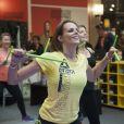 """Laure Manaudou participe à l'évènement """"Unexpected Fitness"""" au centre commercial """"So Ouest"""" en partenariat avec Reebok à Levallois-Perret, le 23 avril 2015."""