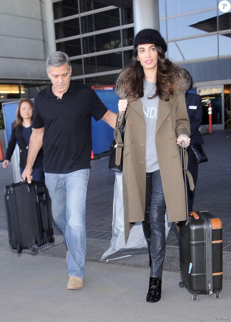 George Clooney et Amal Clooney arrivent à l'aéroport de Los Angeles le 27 janvier 2017