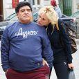 Exclusif  - Maradona et sa petite amie Rocio Olivia dans les rues de Vienne, le 27 mars 2015.