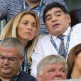 Diego Maradona et sa compagne au match d'ouverture de l'Euro 2016, France-Roumanie au Stade de France, le 10 juin 2016. © Cyril Moreau/Bestimage