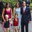 Le prince Louis de Luxembourg avec sa soeur la princesse Alexandra, sa femme la princesse Tessy et ses enfants le prince Noah et le prince Gabriel lors du mariage civil du prince Felix de Luxembourg et de Claire Lademacher à la Villa Rothschild à Koenigstein im Taunus, le 17 septembre 2013.