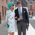 Le prince Louis de Luxembourg la princesse Tessy au mariage de la princesse Alix de Ligne et Guillaume de Dampierre, en l'église Saint-Pierre à Beloeil, en Belgique, le 18 juin 2016, trois mois avant leurs 10 ans de mariage. Le 18 janvier 2017, le couple annonce sa décision de divorcer.